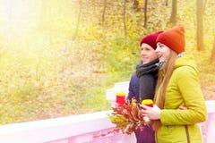 Couples dans l'amour en parc en automne Image libre de droits
