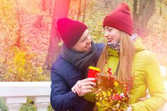 Couples dans l'amour en parc en automne Images stock