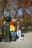 Couples dans l'amour en stationnement d'automne Photo stock