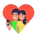 Couples dans l'amour faisant le selfie illustration de vecteur