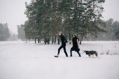 Couples dans l'amour marchant avec leur chien enroué Photographie stock libre de droits