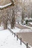 Couples dans l'amour marchant dans la neige Photographie stock libre de droits