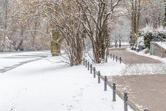 Couples dans l'amour marchant dans la neige Image libre de droits