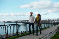 Couples dans l'amour marchant le long du bord de mer avec son chien Image stock