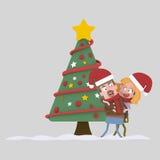 Couples dans l'amour posant devant l'arbre de Noël 3d Image libre de droits