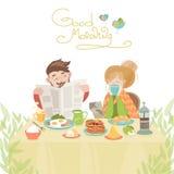Couples dans l'amour prenant le petit déjeuner illustration de vecteur