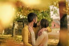 Couples dans l'amour Relations et romance d'amour Homme et femme aux feuilles jaunes d'arbre Couples heureux d'automne de fille e Photographie stock