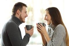 Couples dans l'amour se regardant en hiver Images libres de droits