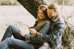 Couples dans l'amour se reposant sur un arbre en parc d'automne et employant le mobile Image stock