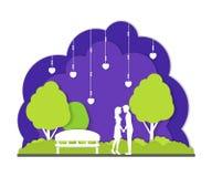 Couples dans l'art d'exposé introductif de paysage de Park City de nuit Vecteur Image stock