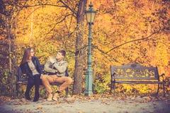Couples dans la chute d'or image libre de droits