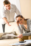 Couples dans la crise financière Images libres de droits