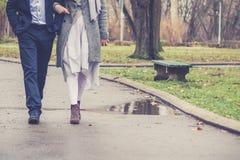 Couples dans la marche d'amour Photographie stock