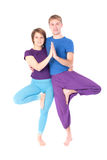 Couples dans la pose de yoga photographie stock