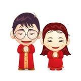 Couples dans la robe de mariage chinoise Image libre de droits