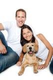 Couples dans le chien d'arrêt d'or de crabot de chiot d'amour Images stock