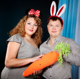 couples dans le costume s'usant de carnaval d'amour Image libre de droits