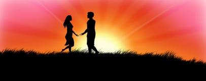 Couples dans le coucher du soleil illustration de vecteur