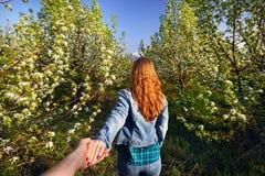 Couples dans le jardin de fleurs de cerisier Image libre de droits