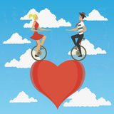 Couples dans le monocycle Photos stock