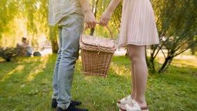 Couples dans le panier en osier de transport d'amour ensemble, choisissant l'endroit pour le pique-nique, date Photos libres de droits