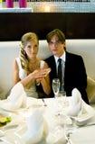 Couples dans le restaurant Images libres de droits