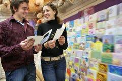 Couples dans le système de cartes postales Images libres de droits
