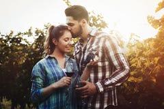 Couples dans le vignoble avant la moisson Images stock