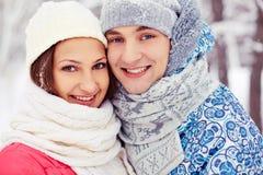 Couples dans le winterwear Image stock