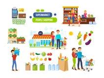 Couples dans les supermarchés, centres commerciaux, nourritures naturelles d'achats, fruits, légumes illustration de vecteur
