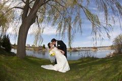 Couples de baiser de jeunes leur jour du mariage Image libre de droits