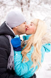 Couples de baiser heureux Photos libres de droits