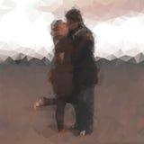 Couples de baiser polygonaux Photographie stock