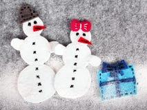 Couples de bonhomme de neige Photographie stock libre de droits