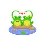 Couples de caractère de grenouille de bande dessinée illustration de vecteur