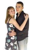 Couples de caresse - les deux visages à l'appareil-photo Images libres de droits