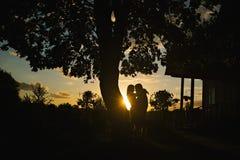 Couples de caresse sur le fond de coucher du soleil Photos libres de droits