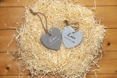 Couples de coeur en bois dans un nid d'amour chaud Photos stock