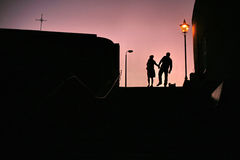 Couples de coucher du soleil Image stock