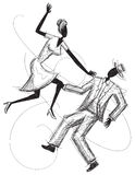 Couples de danse? d'isolement sur le blanc Images stock