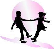 Couples de danse? d'isolement sur le blanc Se réunir Illustration Photos libres de droits