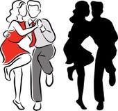 Couples de danse de balboa d'oscillation illustration stock