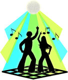 Couples de danse de disco Images libres de droits