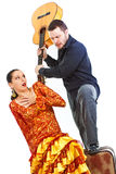 Couples de flamenco se disputant Photo libre de droits