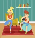 Couples de forme physique exerçant ensemble à la maison l'illustration d'intérieur de vecteur dans le style de bande dessinée illustration libre de droits