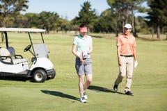 Couples de golfeur marchant sur le champ image stock