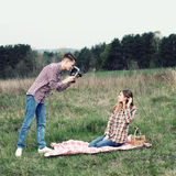 Couples de hippie Photos libres de droits