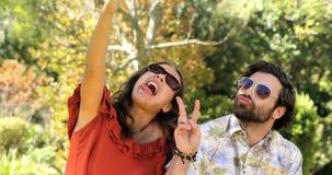 Couples de hippie prenant un selfie banque de vidéos