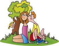 Couples de l'adolescence dans l'amour illustration de vecteur