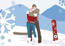 Couples de l'hiver Photos libres de droits